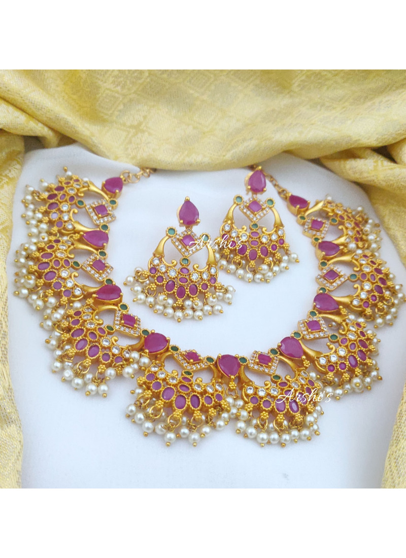 Beautiful Ruby and Green AD Trendy Necklace