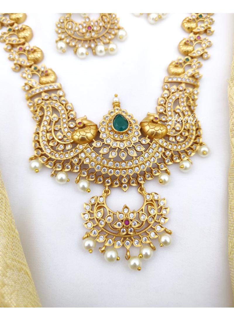 Peacock Design AD Stone Necklace