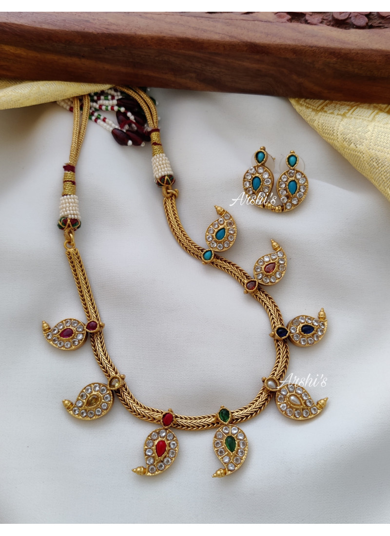 Simple Mango Design Navarathana Necklace