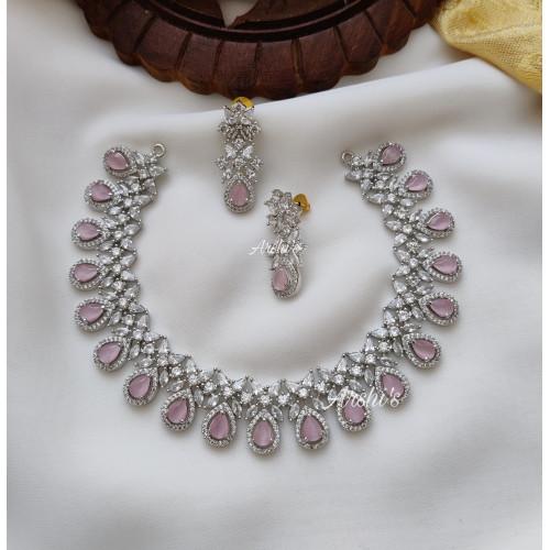 Trendy Pale Pink Rodium Polish Necklace