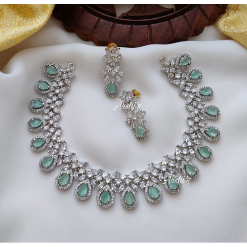 Trendy Pale Green Rodium Polish Necklace