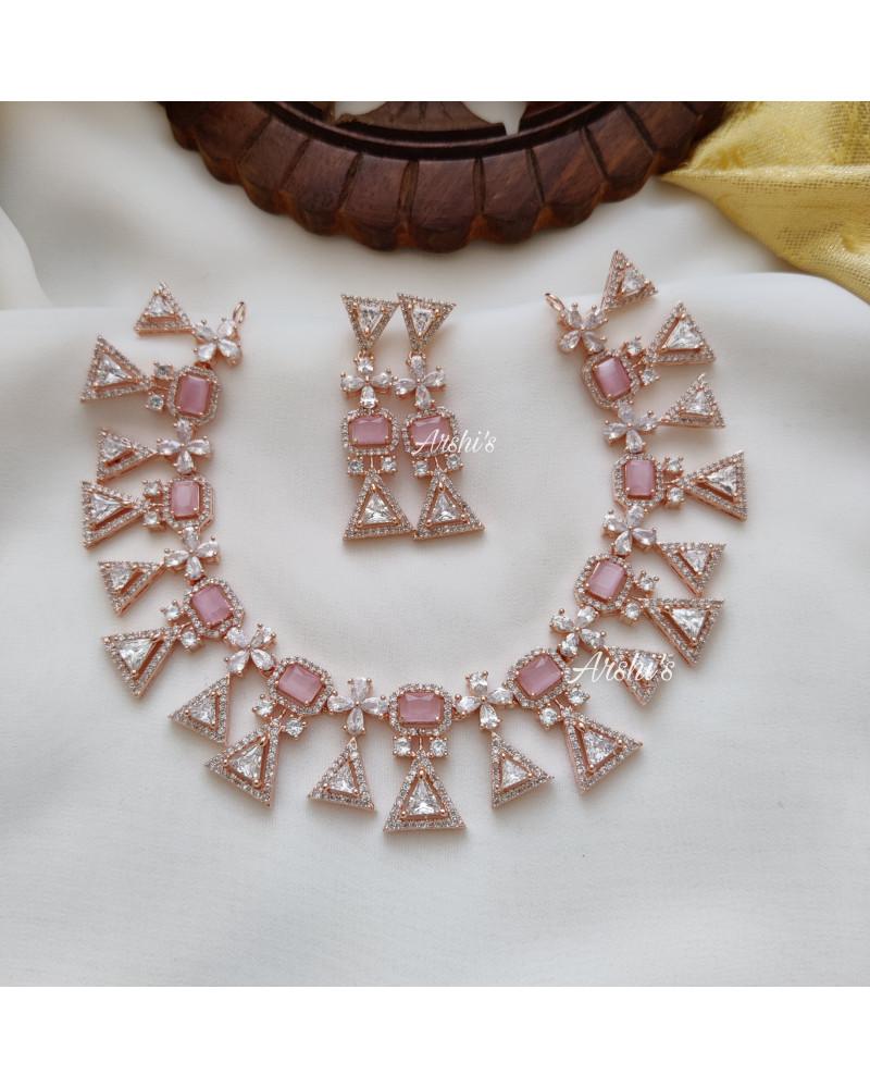 Elegant Pale Pink Rose Gold Necklace