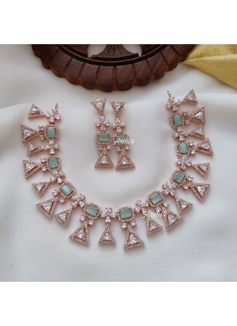 Imitation Party Wear Pale Green Gold Necklace