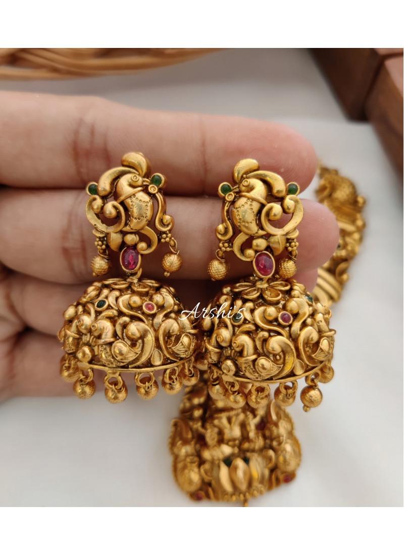 Traditional Lakshmi Pendant Peacock Design Necklace
