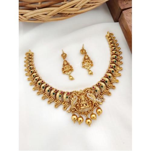 Grand Traditional Lakshmi Peacock Necklace