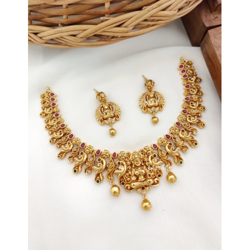 One Gram Gold Lakshmi Peacock Necklace