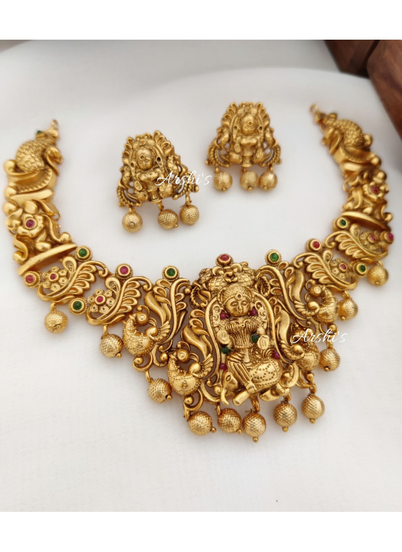 Bridal Temple Peacock Necklace