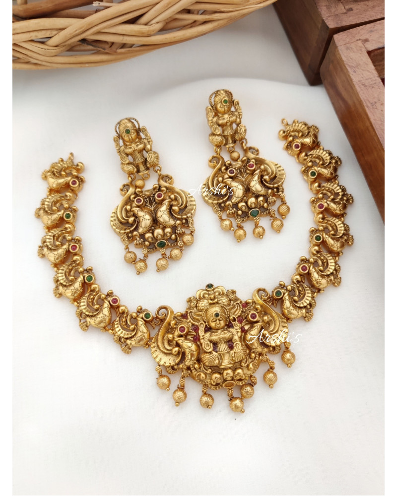 Traditional Lakshmi Peacock Necklace