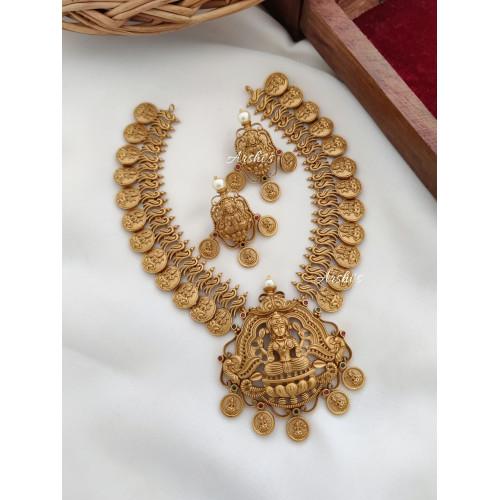 Matte Lakshmi Coin Necklace