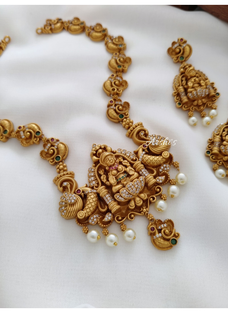 Elegant and Traditional Lakshmi Peacock Necklace