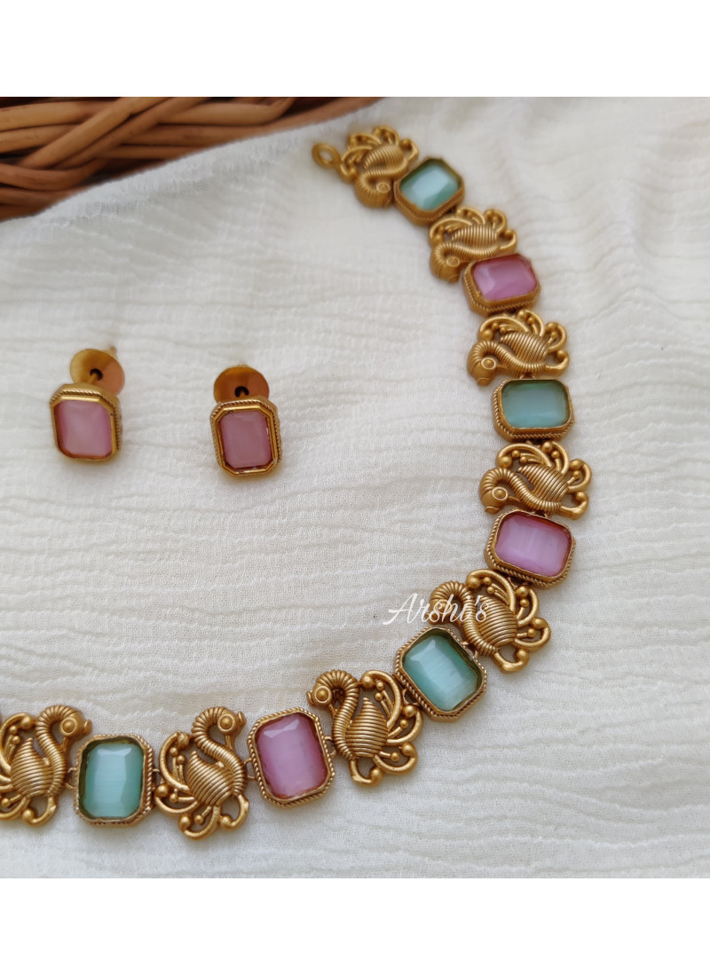 Elegant Peacock Pink and Sky Blue Stone Necklace