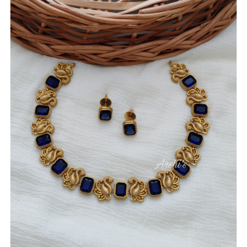 Elegant Peacock Blue Stone Necklace