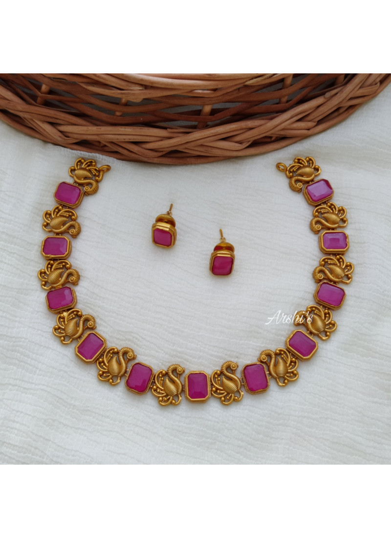 Elegant Peacock Rose Stone Necklace