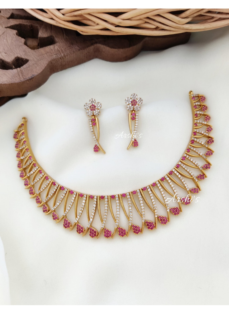 Gold Alike AD Red and White Stone Necklace