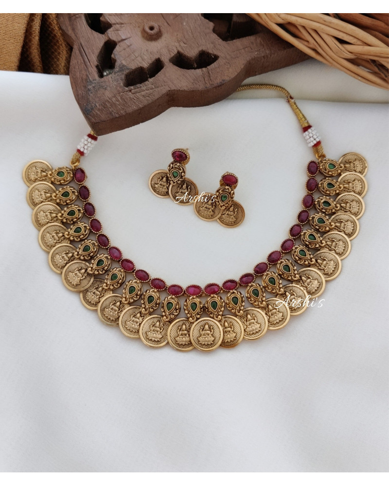 Antique Finish Lakshmi Coin Real Kemp Necklace