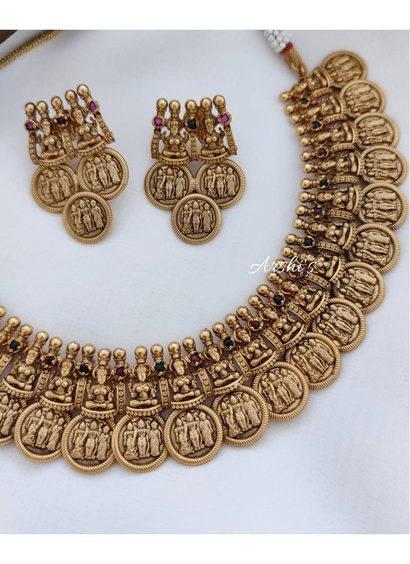Lakshmi Coin Ramparivar Kemp Stone Necklace