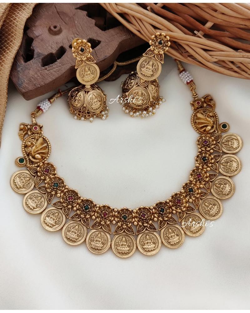 Unique Temple Lakshmi Coin Necklace