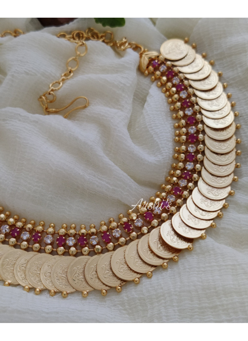 Gold Polish Ruby and White Lakshmi Coin Necklace