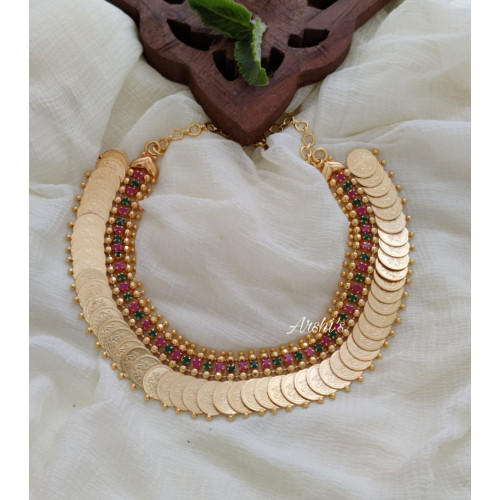 Gold Polish Ruby and Green Lakshmi Coin Necklace