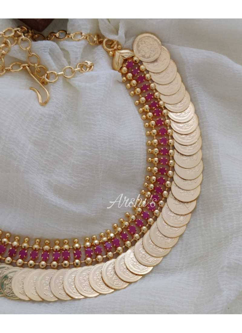 Classic Ruby AD Stone Lakshmi Coin Necklace