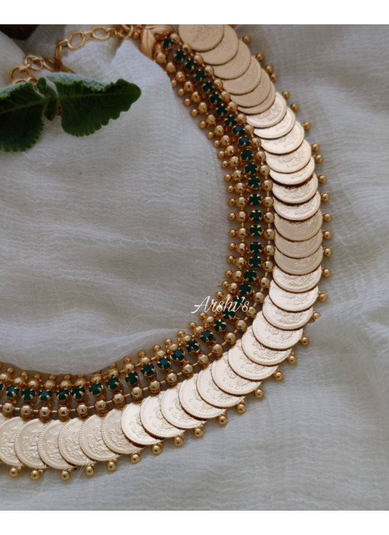 Gold Polish AD Green Stone Lakshmi Coin Necklace