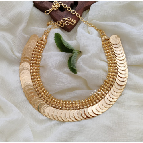 Traditional Gold Polish Lakshmi Coin Necklace