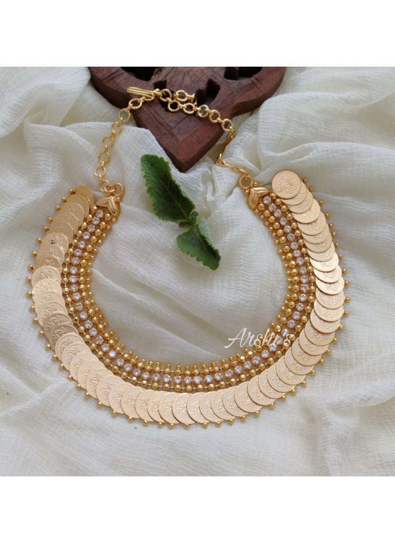Classic Gold Polish White Stone Lakshmi Coin Necklace