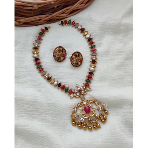 Trendy Navarathna Stone Necklace