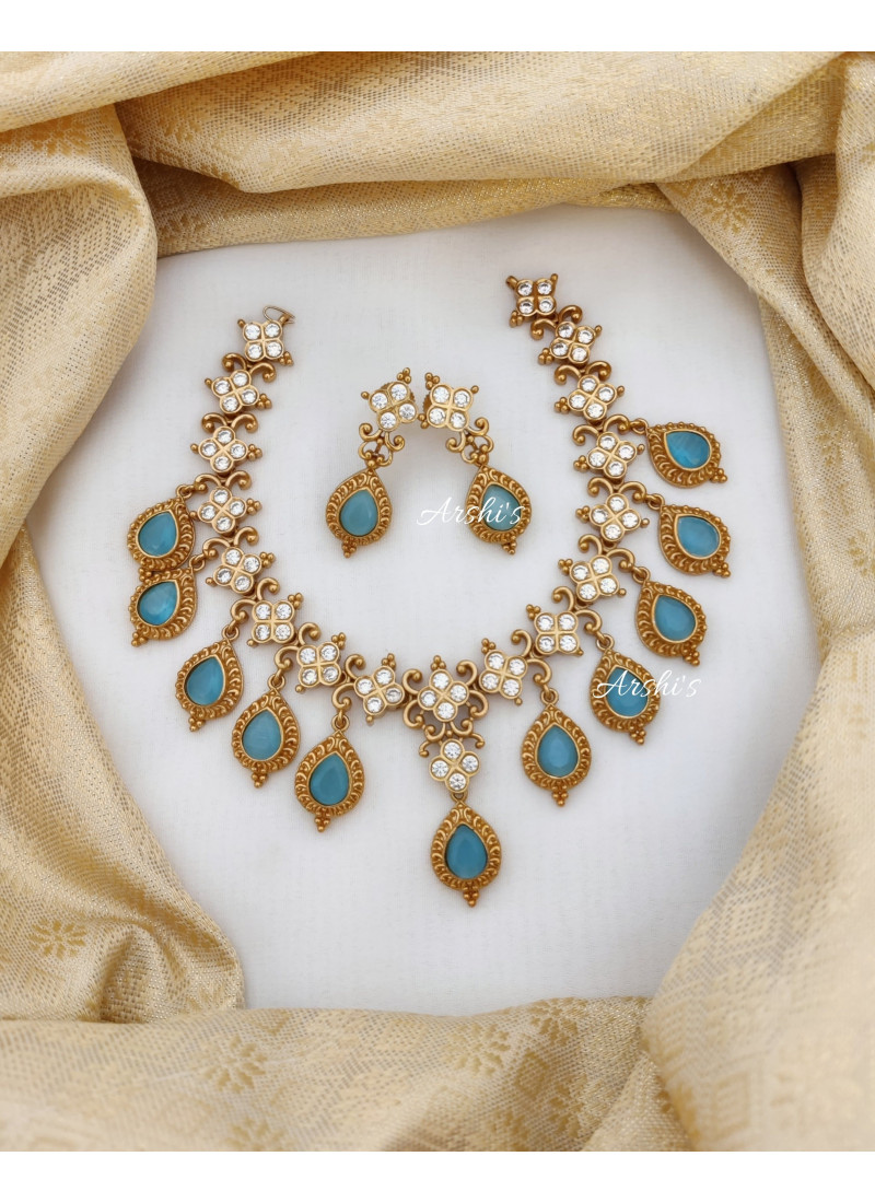 Classic Sky Blue AD Stone Necklace