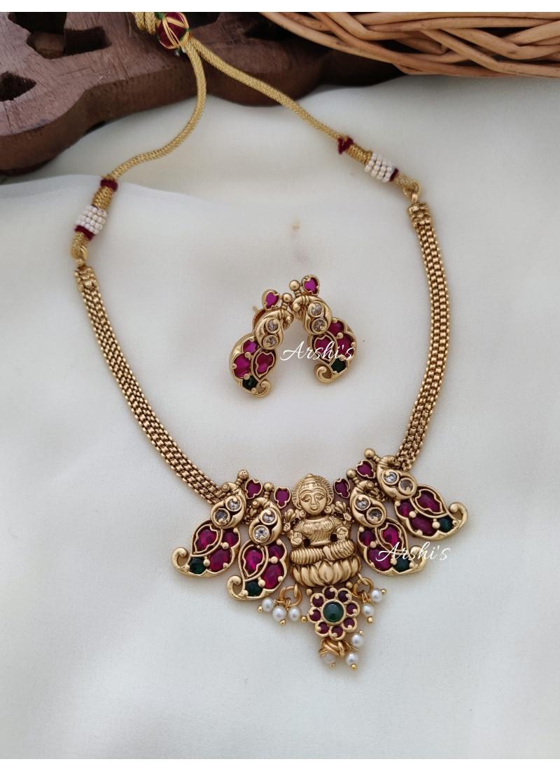 Trendy Real Kemp Lakshmi Mango Necklace