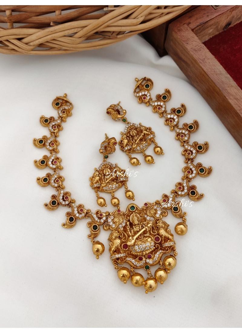 Imitation Temple Lakshmi Pendant Necklace