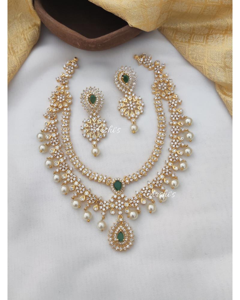 Diamond Alike AD Green Stone Necklace