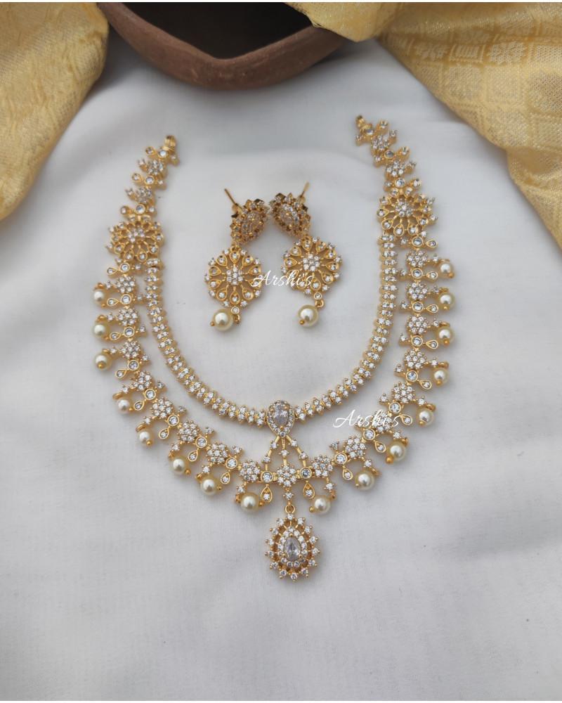 Beautiful Diamond Alike AD Stone Necklace
