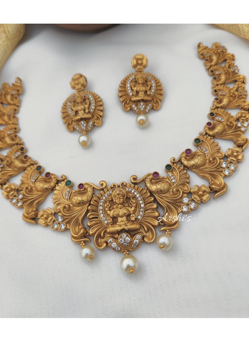 Peacock Design Lakshmi Pendant Necklace