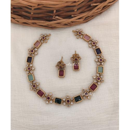 Simple Multi Color AD Necklace