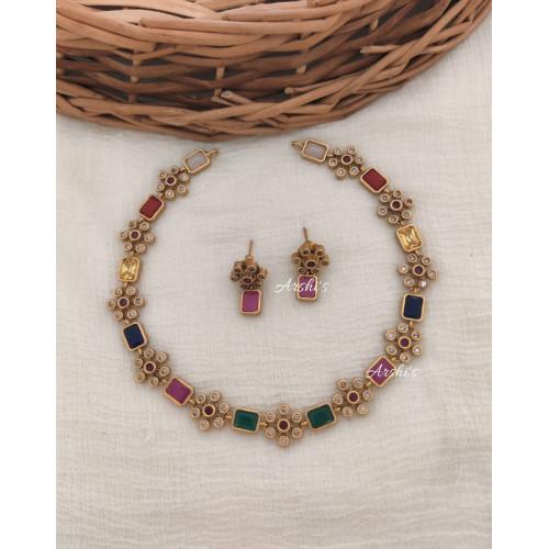 Elegant Multi Color AD Stone Necklace