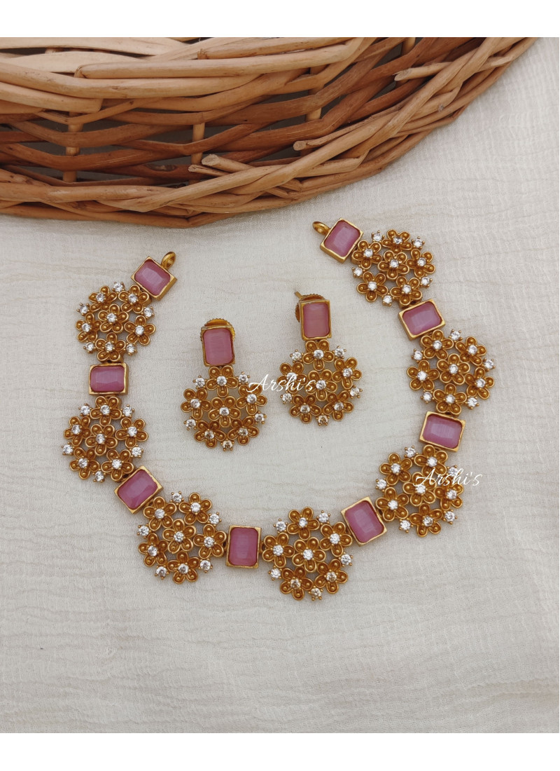 Beautiful Flower Design Pink AD Stone Necklace