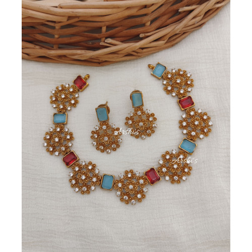 Ruby and Blue Stone Flower Design Necklace