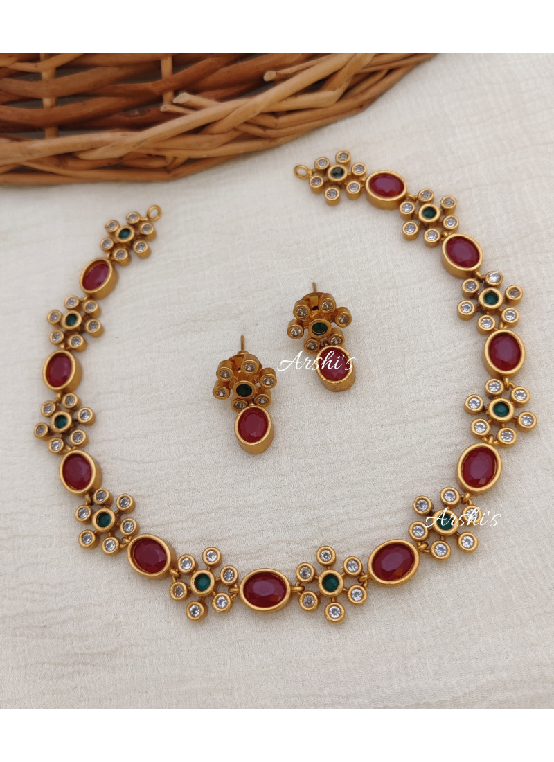 Elegant Ruby and Green AD Stone Necklace