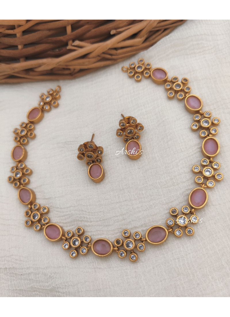 Simple Pale Pink AD Stone Necklace