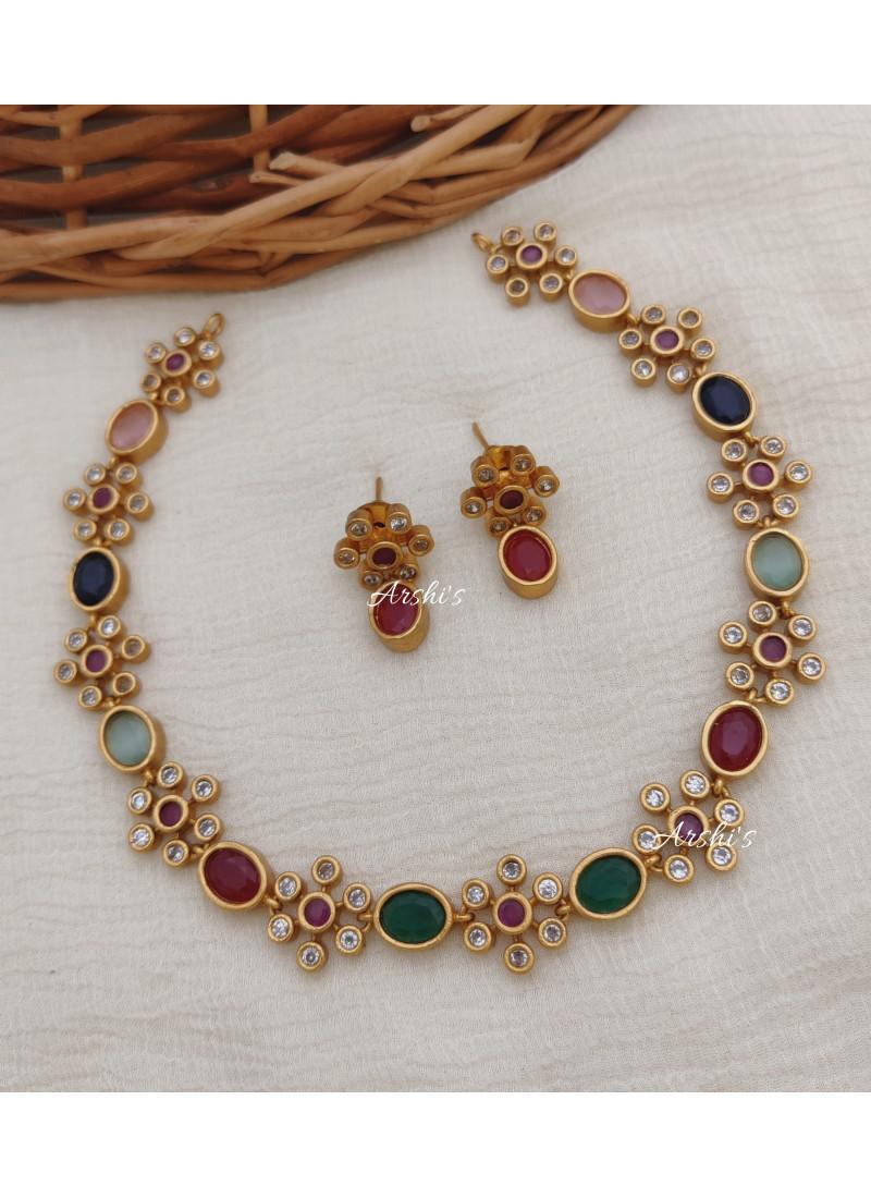 Simple Multi AD Stone Necklace