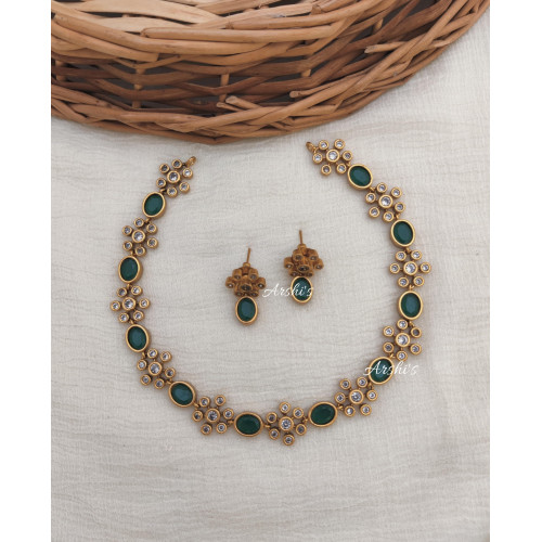 Beautiful Green AD Stone Necklace