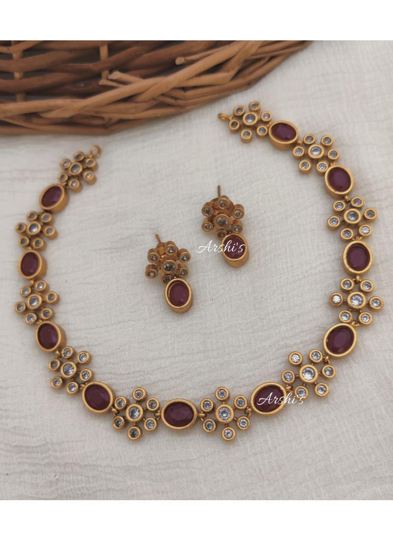 Elegant Ruby AD Stone Necklace