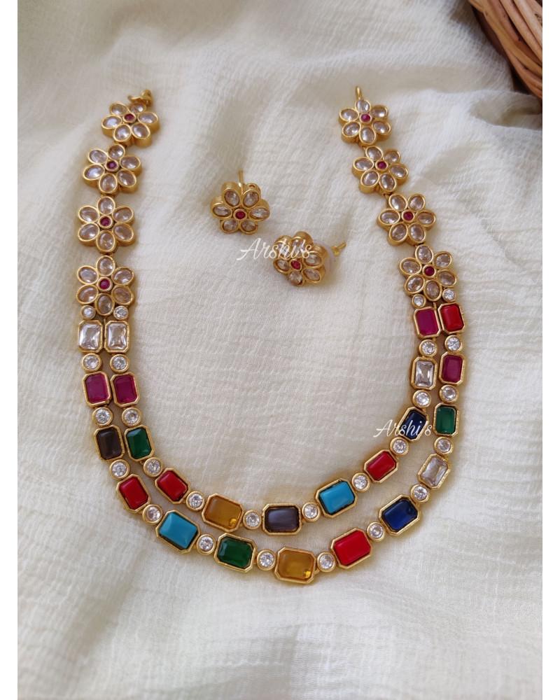 One Gram Gold Navarathna AD Necklace