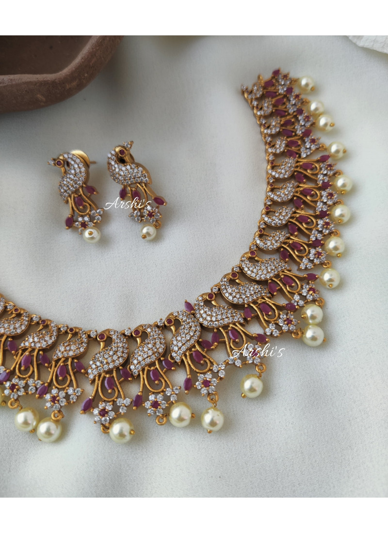 Beautiful Peacock AD with Pearl Necklace