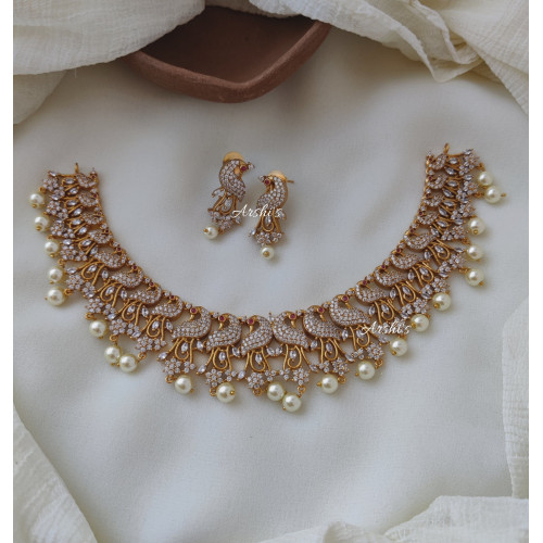 Peacock AD White Stone with Pearl Necklace