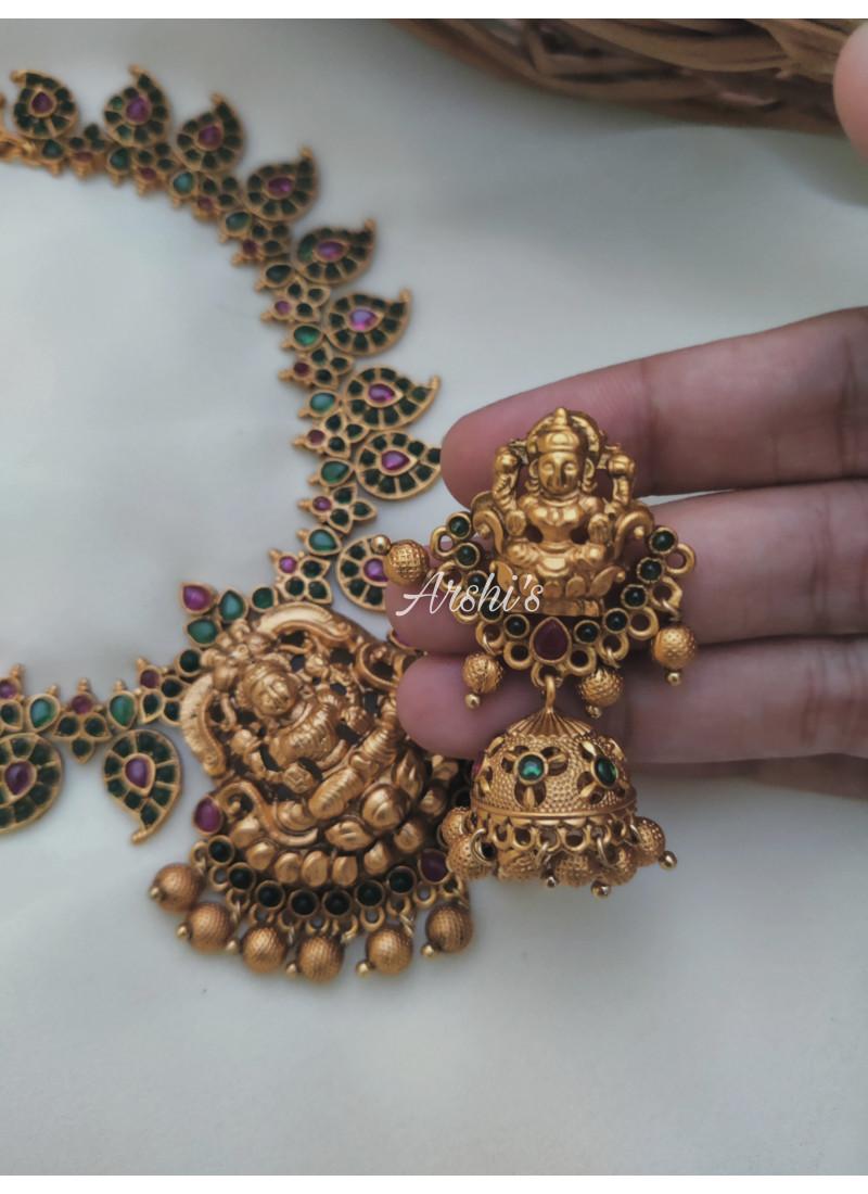 Green Stone Lakshmi Pendant Necklace