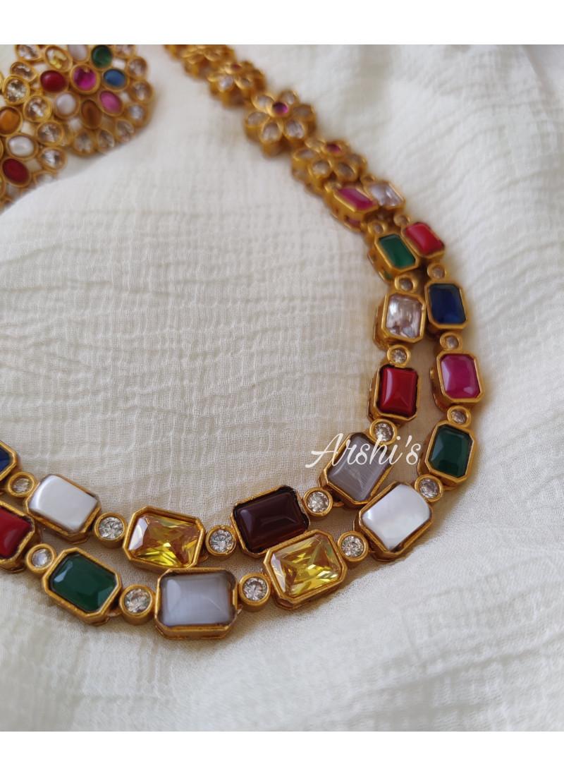 Beautiful Imitation Navarathna Necklace