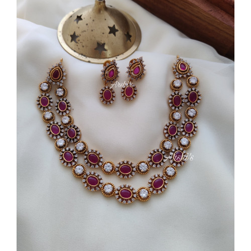 Two Layered Design Real Kemp Necklace