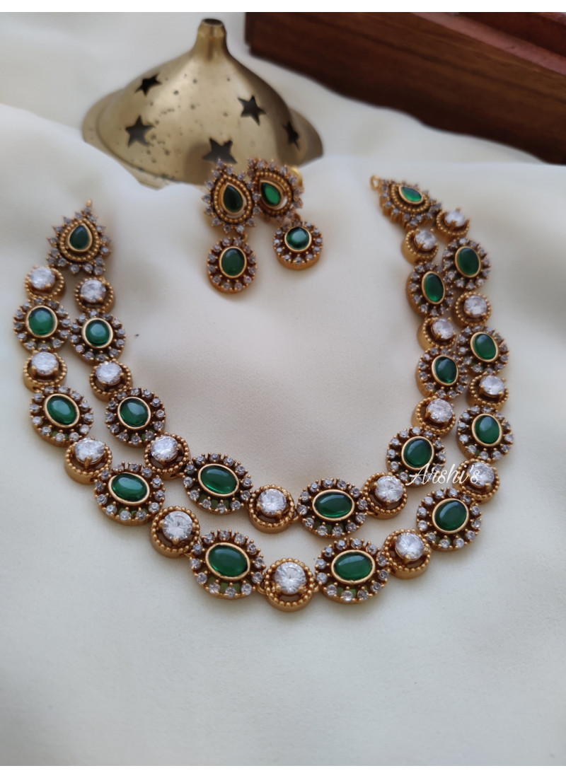 Two Layered Green Stone Necklace
